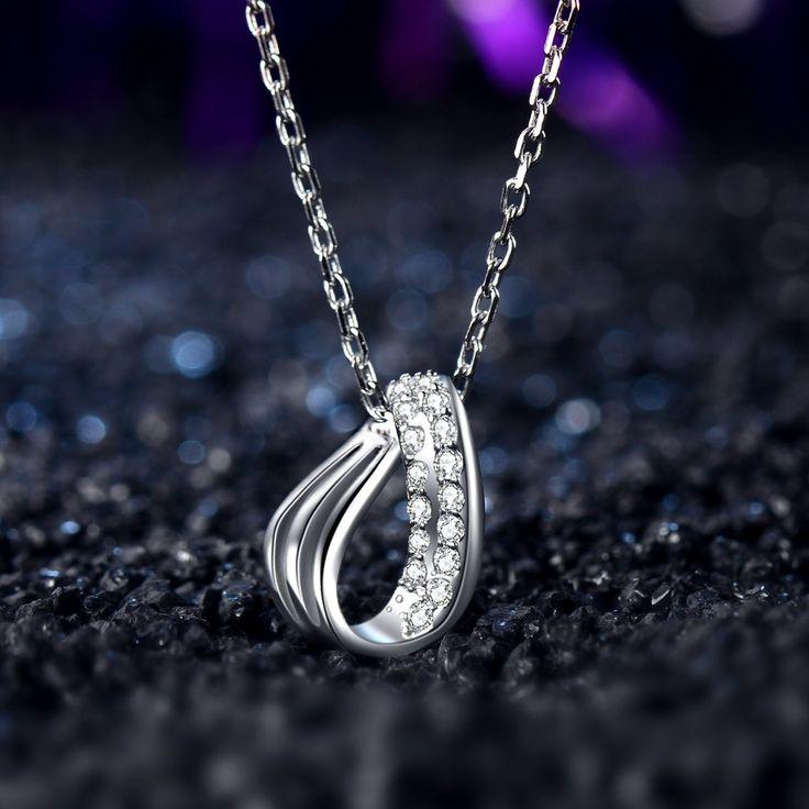 J.Vénus Collar de plata, con colgante, plata de ley 925,circonita, 45cm, joyas con funda (Color Blanco): Amazon.es: Joyería