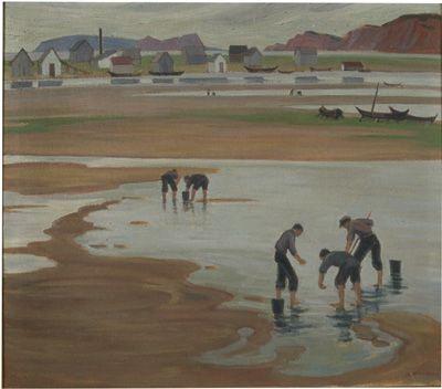 """Clamdiggers (Barachois Bay, Gaspe), Doris McCarthy, oil on canvas, 30 x 34"", MacKenzie Art Gallery."