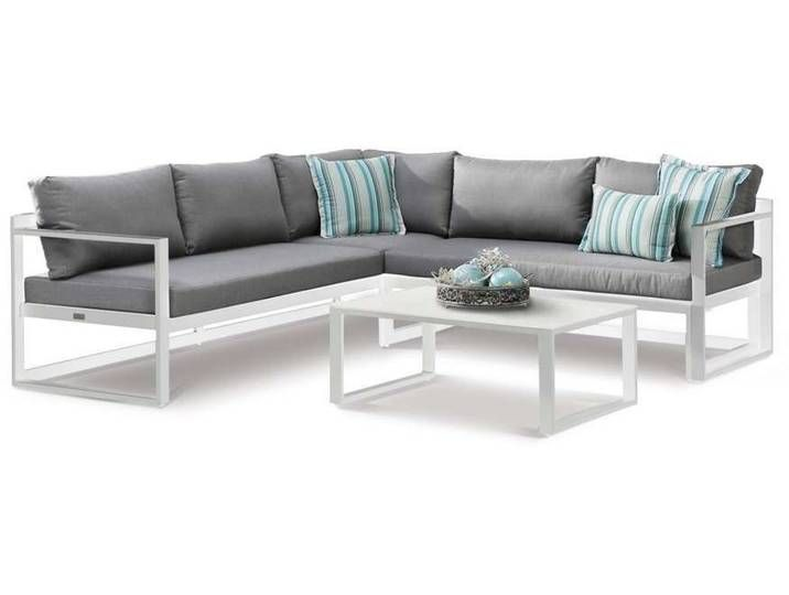 Best Rhodos Garten Lounge 3 Tlg Weiss Grau In 2020 Sectional Sofa Outdoor Sofa Furniture