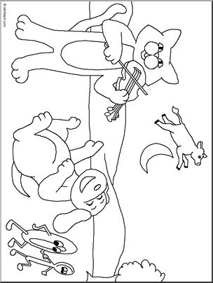 Lots and lots of Nursery Rhyme Coloring Pages, e.g,.Hey, Diddle Diddle.  Repinned by www.preschoolspeechie.com