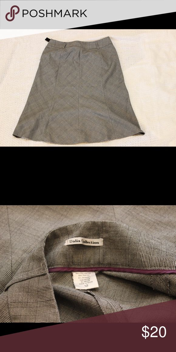 Dalia Collection Grey Skirt Calf-length grey skirt with black plaid detail.  Great condition Dalia Collection Skirts A-Line or Full