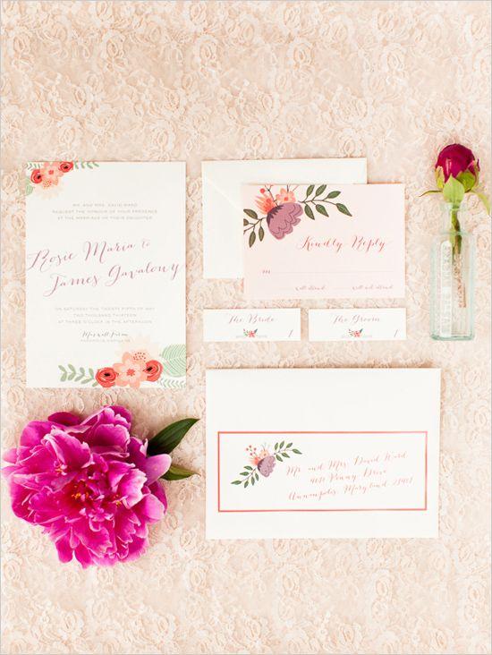 floral wedding stationery by little bit heart http://www.weddingchicks.com/2013/10/18/colorful-garden-wedding-ideas-2/
