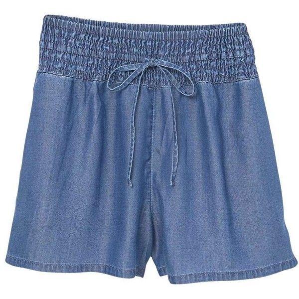 MANGO Ruched denim short ($40) ❤ liked on Polyvore featuring shorts, jean shorts, denim shorts, bow jean shorts, short jean shorts and denim short shorts