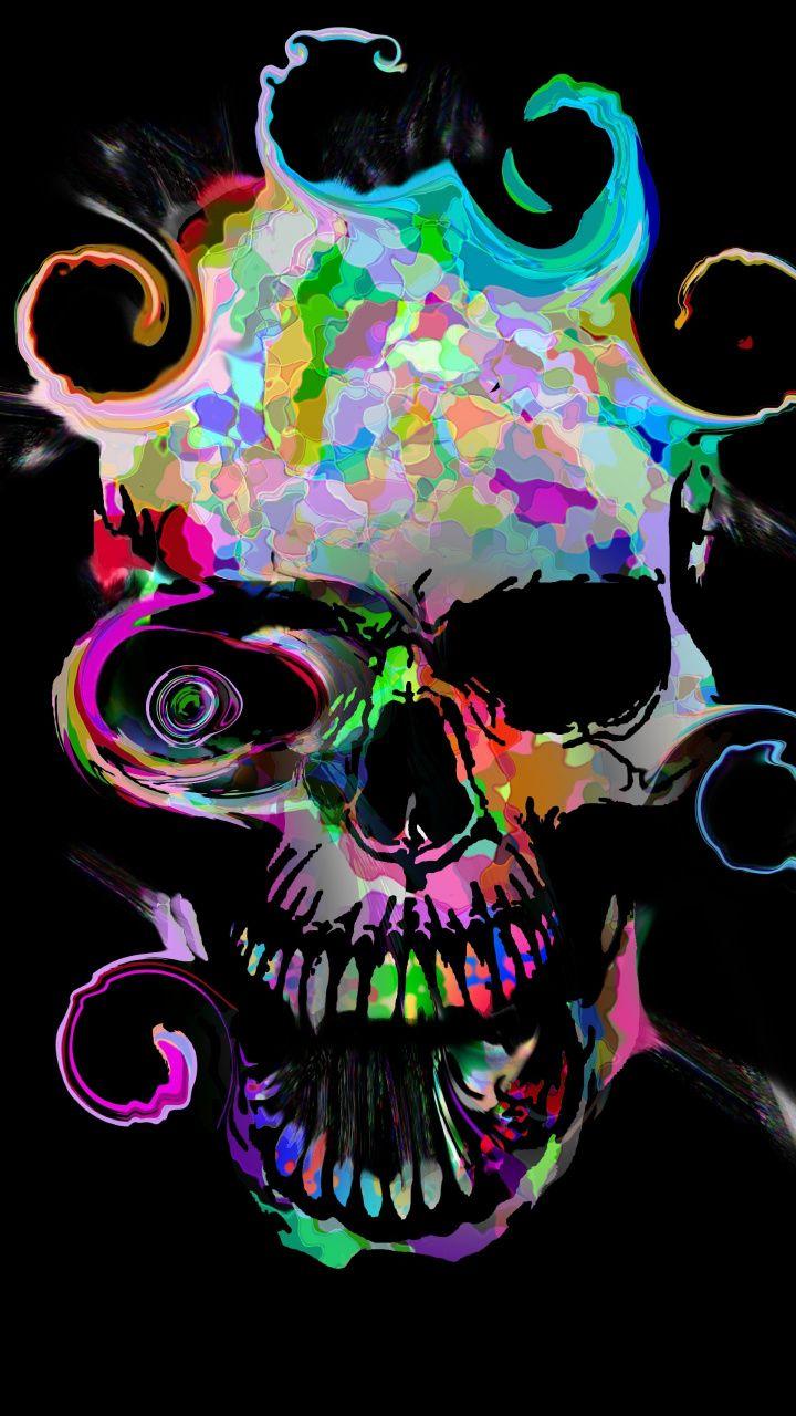 Artistic Colorful Skull Dark 720x1280 Wallpaper Skull Wallpaper Skull Art Skull Pictures