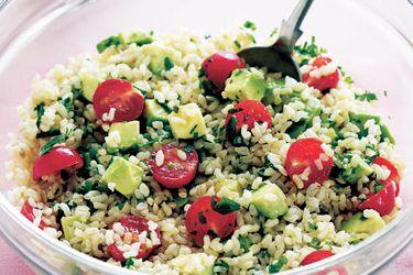 Brown rice and avocado salad