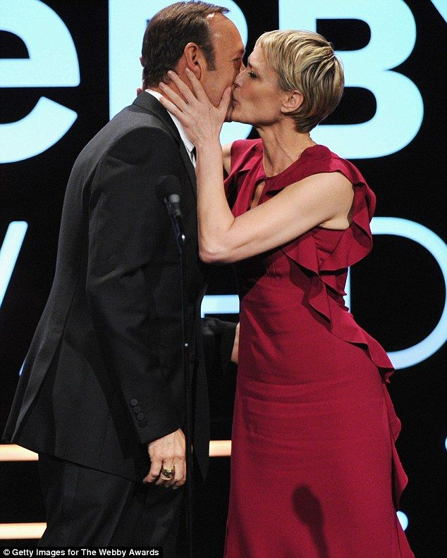 Robin Wright and her House of Cards co-star Kevin Spacey attended the 17th Annual Webby Awards in New York City, May 2013.