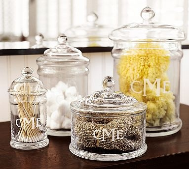 apothecary style glass canisters for my bathroom counters? yes, please. they start at $19 at potterybarn.com