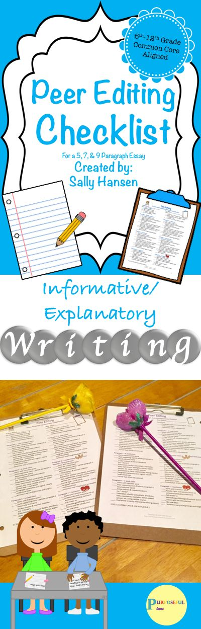 The 3 peer editing checklists are very detailed (for a 5, 7, & 9 paragraph essay) created for the progressing writer. Excellent for mixed or leveled classes to give students individualized instruction. Practical and easy to understand. Students will know what is expected of them and they will have opportunities to reflect on their work.
