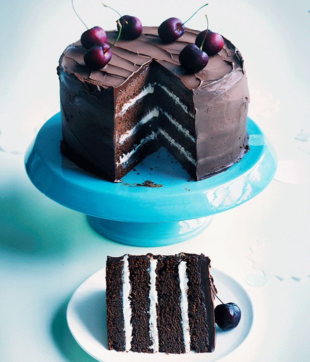 A glamorous and modern version of a Black Forest cake. With a whipped white chocolate ganache, cherry jam and bitter chocolate frosting, this decadent dessert is worth throwing a party for.