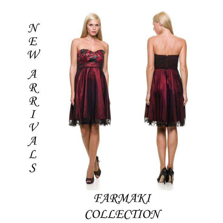 Φόρεμα κοντό, στράπλες, αμπίρ κόψιμο, άλφα γραμμή. Δίχρωμο. Ύφασμα σατέν με μαύρο τούλι.
