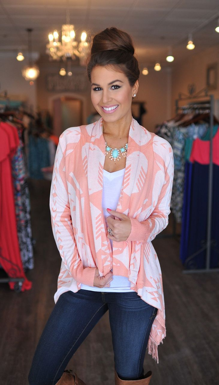 Dottie Couture Boutique - Peach Tribal Sweater, $42.00 (http://www.dottiecouture.com/peach-tribal-sweater-1/)