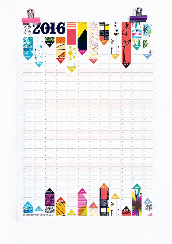 Wall Planner 2016 Calendar Office Organiser Pattern Reversible Design HG Wells Quote
