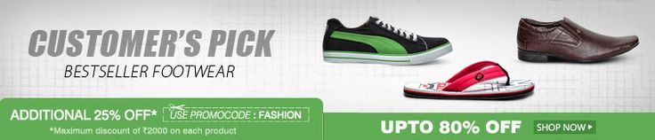 Upto 80% off + 25% extra discount on Mens Footwear  Guys , these footwears are really Trendy and eye-catching..  So , Hurry up .. Grab the offer to add on to your Style ..!!
