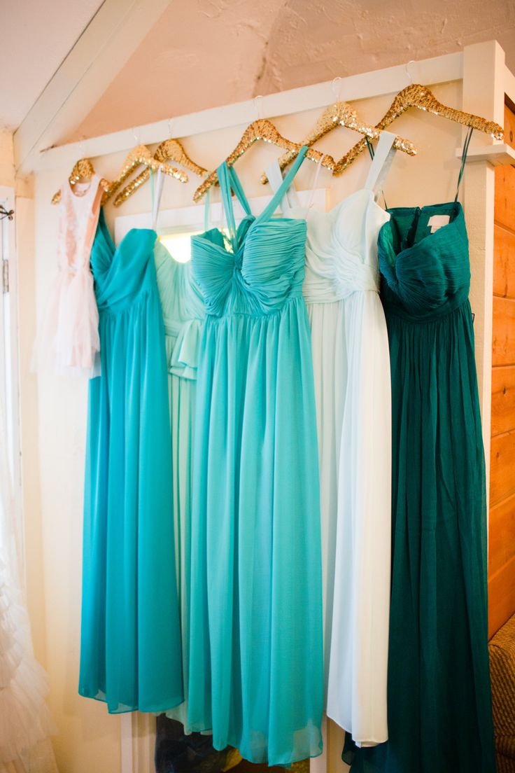 Sea colored flowy bridesmaids dresses