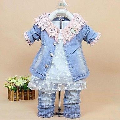 lány divat csipke hálós virág farmer anyagból három részes öltöny baba beállított ruhák 2571635 2017 – $80.99