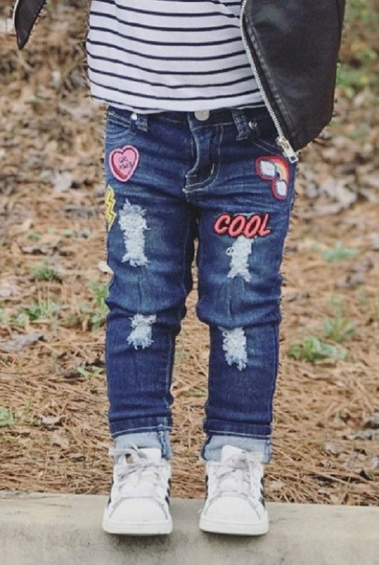Girl's Distressed Jeans w/ Super Cute Patch Decal