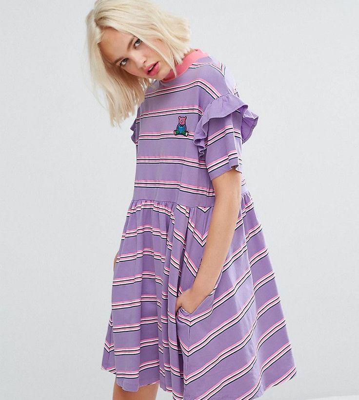 Lazy Oaf Short Sleeve Smock Dress In Stripe - Purple
