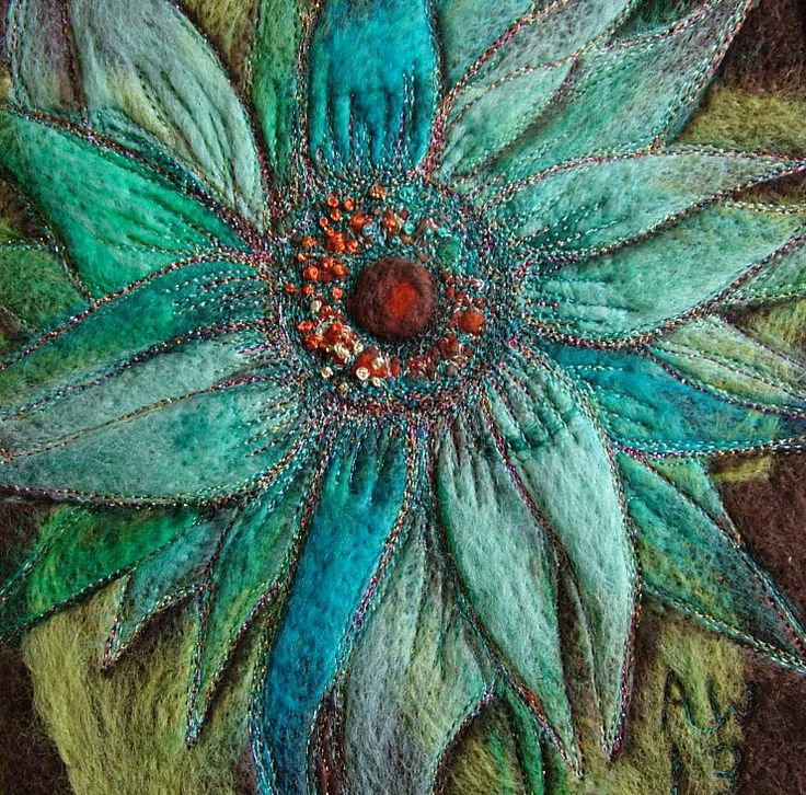 Textile Art - Anne Waller. Fantasy Floral - Needle felted and embellished with free machine embroidery - size approx 30 X 30cm - #MyFavouriteMakes