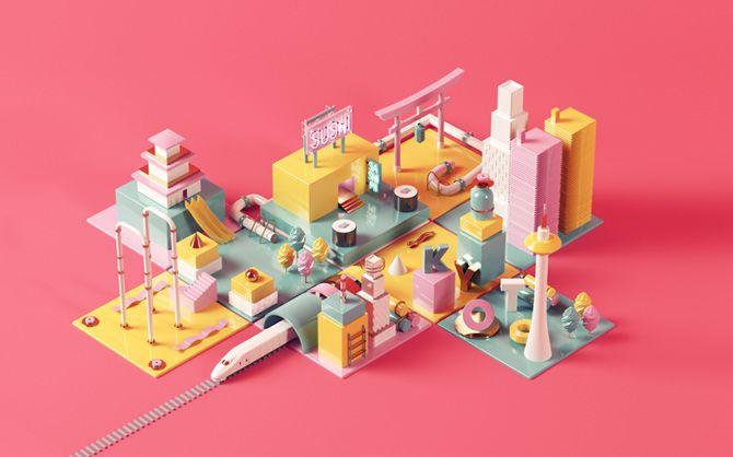 """La artista Nuria Madrid realiza obras de #arte digitales en #3D. Su obra llamada """"Kyoto"""", muestra algunos elementos de la cultura Japonesa."""