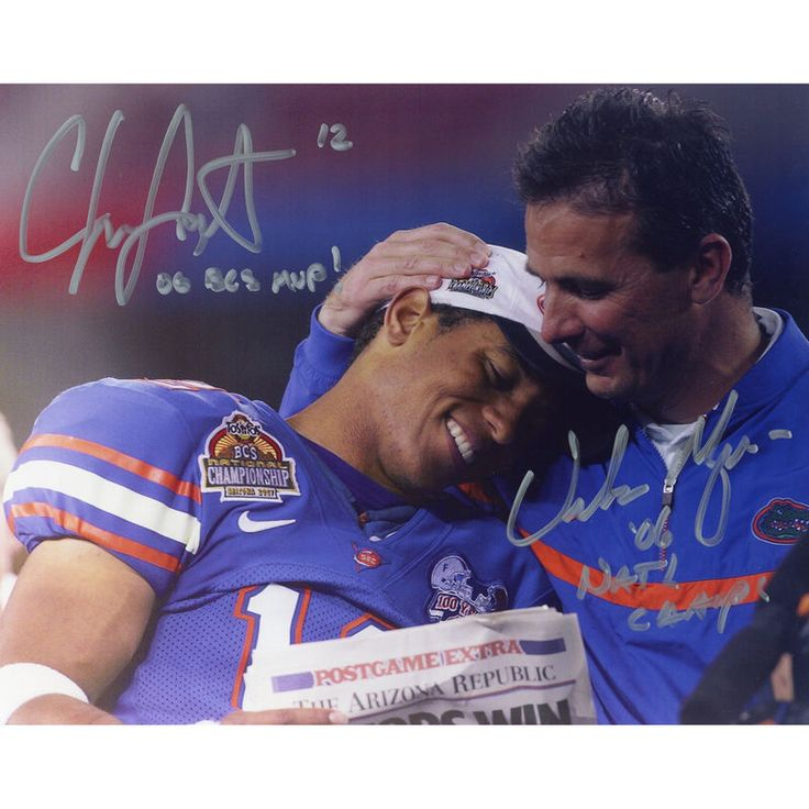 "Urban Meyer, Chris Leak Florida Gators Fanatics Authentic Autographed 8"" x 10"" Hugging Leak Photograph with Multiple Inscriptions"