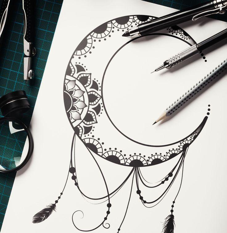 Diseño de tattoo. Luna atrapa sueños