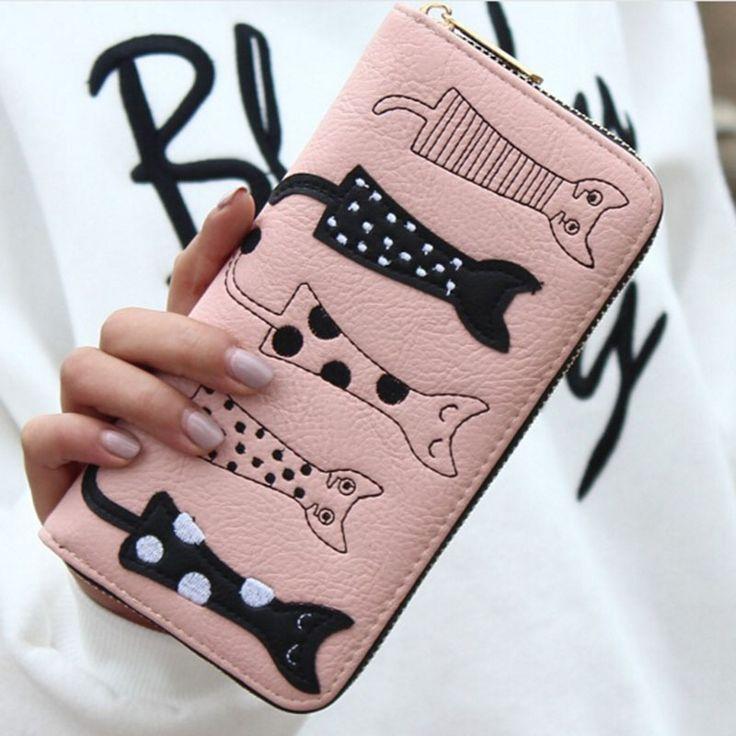 PÁSSAROS QUE VOAM! 2016 mulheres carteiras carteira de couro estilo longo preço titular do cartão saco Das Mulheres do gato dos desenhos animados bolsa da moeda do dólar LS8723fb