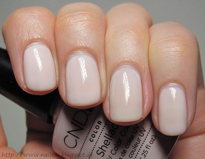 Shellac nails in Romantique. Beautiful neutral shade.