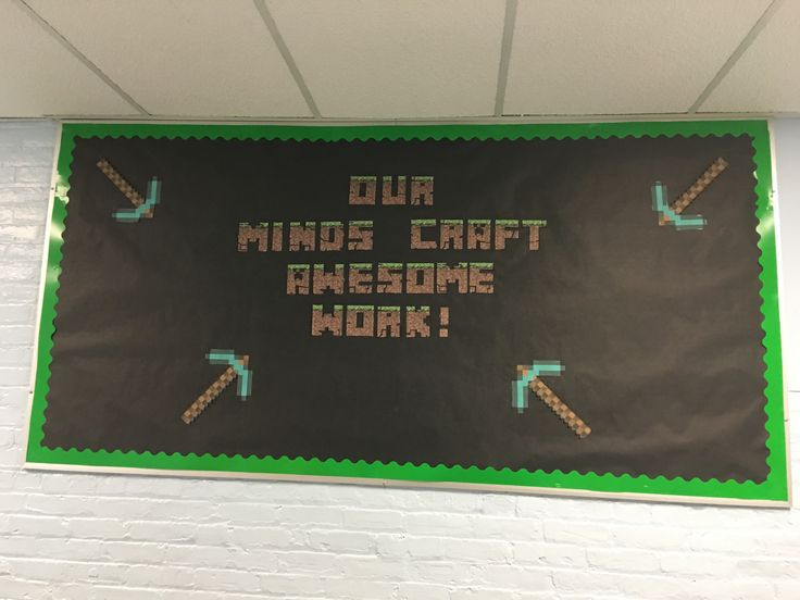 Minecraft Bulletin Board Idea #minecraft #library #school