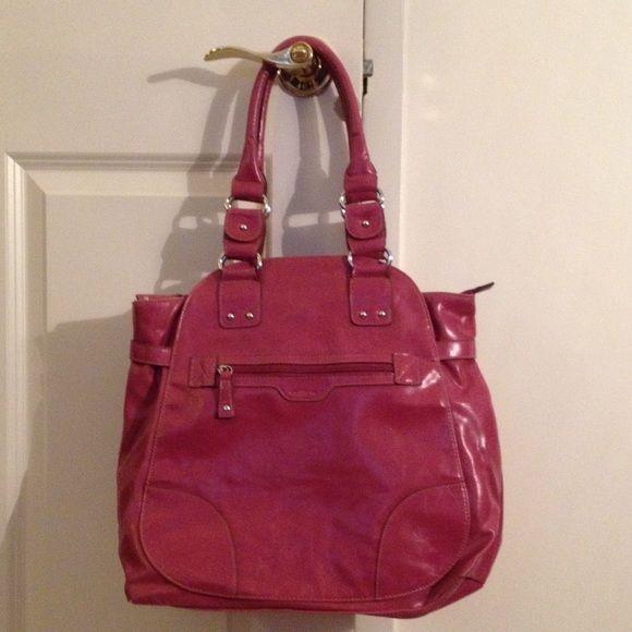 Pink shoulder bag Pink shoulder bag. A lot of wear and tear. Marks in leather. Wearing on. Bottom corners. All zippers work Emilie m. Bags Shoulder Bags
