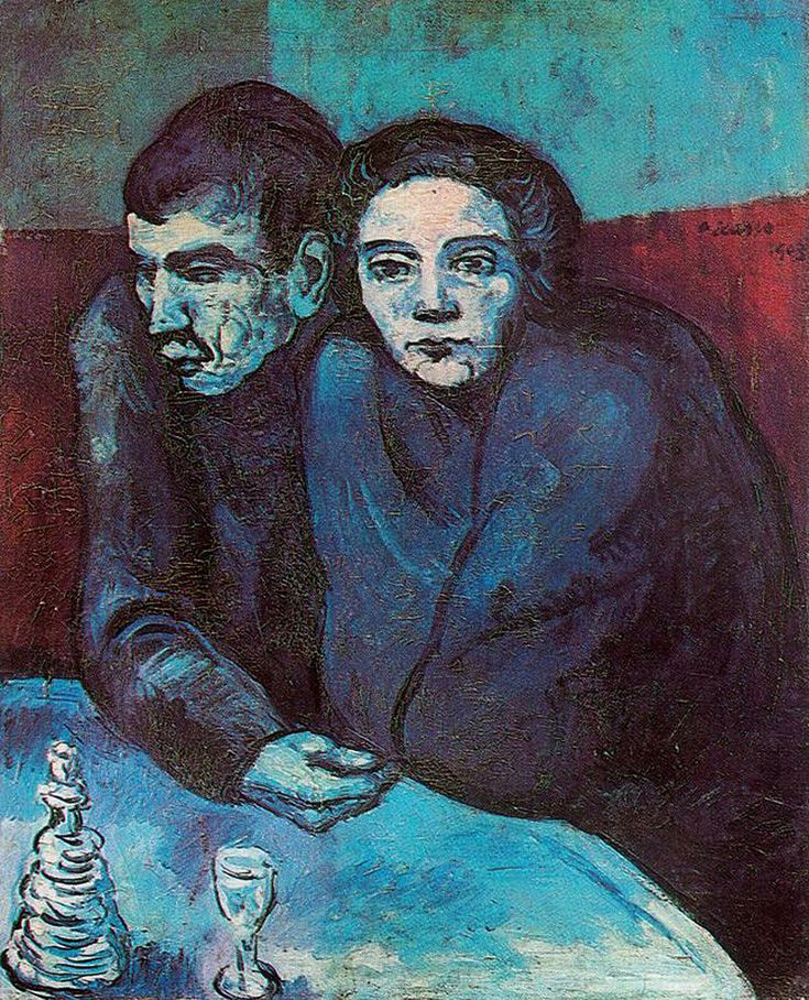 """Man and Woman in Café"" 1903, by Pablo Picasso. A good example of what he did during his famous ""Blue Period."""