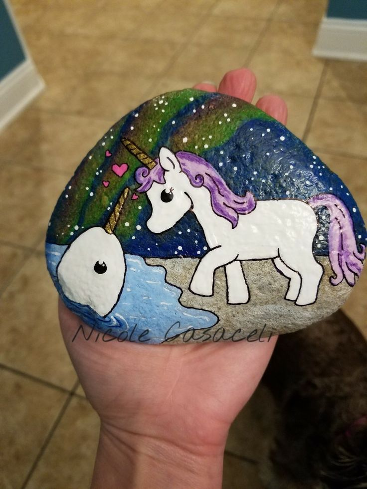 Unicorn and Narwhal painted rock