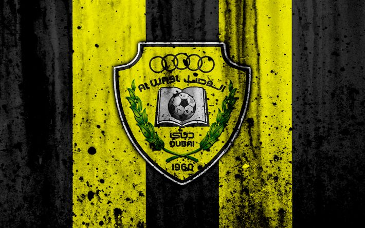 Download wallpapers 4k, FC Al-Wasl, grunge, UAE League, soccer, football club, UAE, Al-Wasl, creative, stone texture, Al-Wasl FC