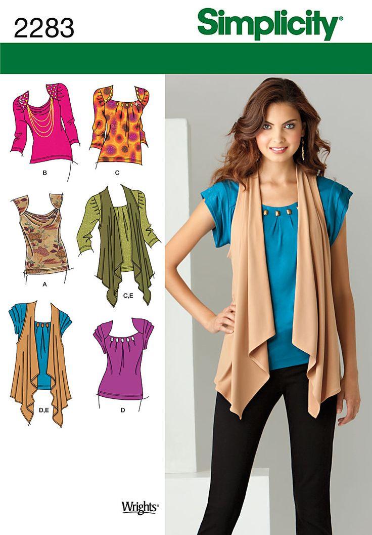 Free Sewing Vest Patterns Easy | Simplicity 2283 - Misses' Knit Tops & Vest