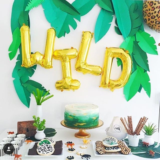 Decorations | Letter Balloons + Paper Leaves = Awesome Backdrop