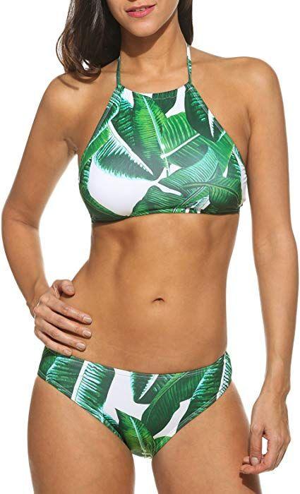 411a876e427ef Amazon.com: Ekouaer Womens Forest Leaves Printing High Neck Halter Bikini  Set Swimsuit (Army Green, S): Clothing