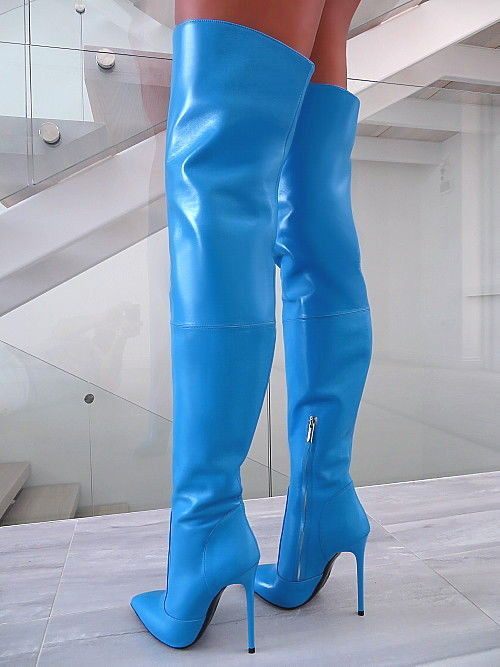912d09f47eb4 LUXUS LEDER LANG OVERKNEE STIEFEL 1969 ITALY B164 LEATHER HIGH HEELS BOOTS  35-44