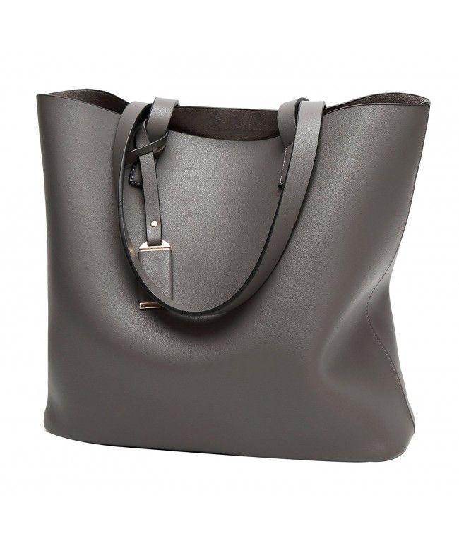 2c58fb9e4ef9 PU Leather Handbag Designer Pure Color Pures Large Capacity Shoulder Bag  Classical Tote Bags - Grey - CF183D5YUAM  Bags  Handbags  Totebags  gifts   Style