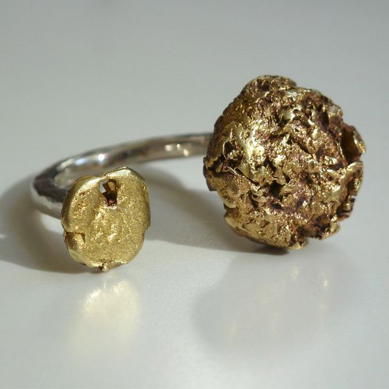 Brass and Sterling Silver half round ring by ntm. jewellery