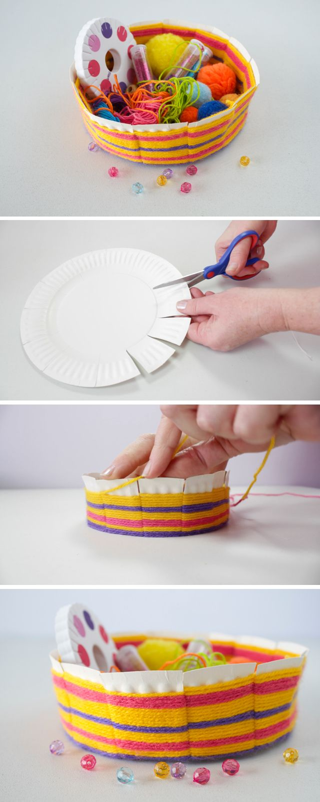 Today, we have a fantastic craft for you! We are going to make this easy woven bowl made out of a paper plate.