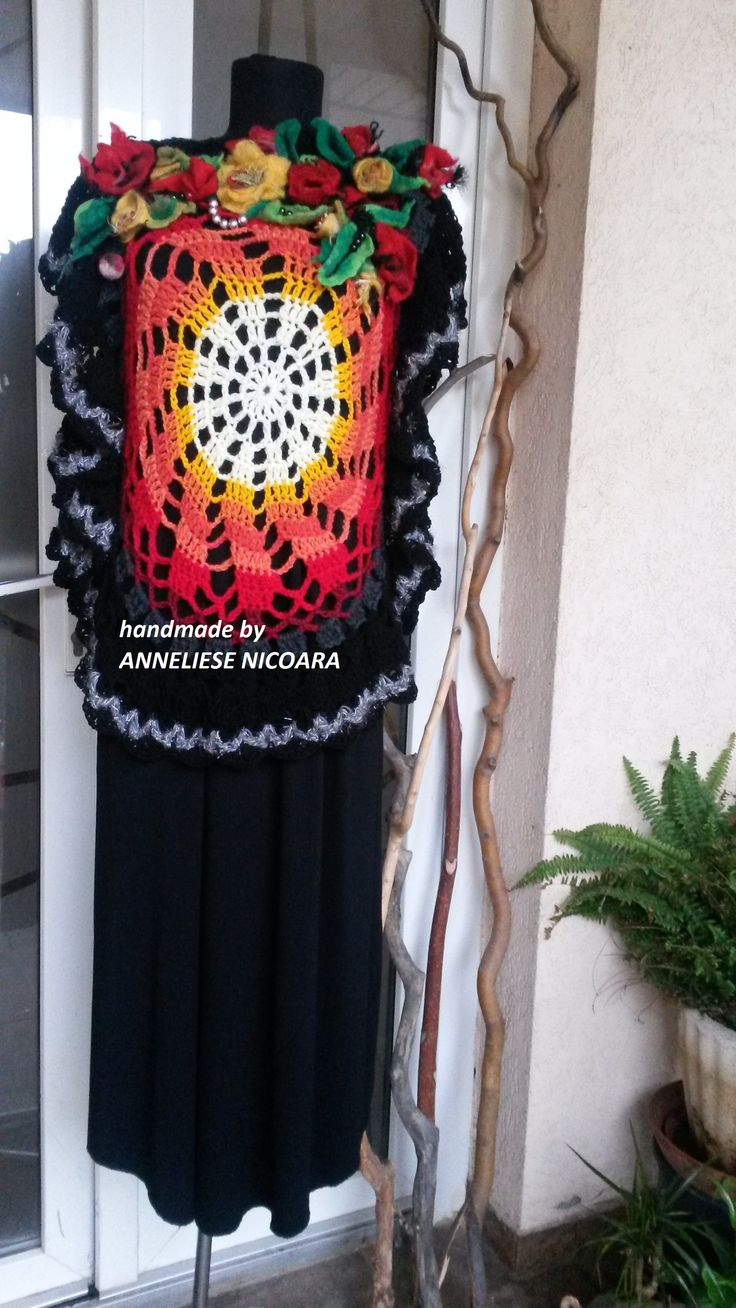 Bohemian,romantik mandala poncho with felted flowers