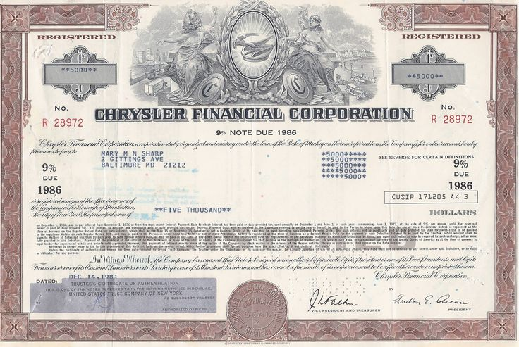 Chrysler Financial Corporation bond certificate old stock - stock certificate template