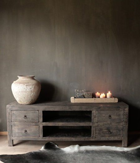 Prachtig Stoer donker houten Dressoir/TV kast