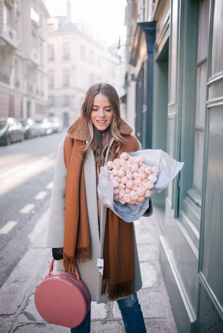 Gal Meets Glam Winter In Paris -RED Valentino coat, Sezane shirt, Demylee sweater, MOTHER Jeans, Mansur Gavriel Bag & Max Mara Scarf