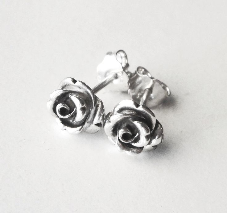 Rose stud earrings, rose earrings, oxidized sterling silver earrings.