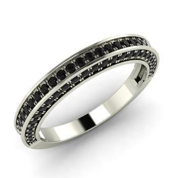 Black Diamond  Wedding Ring in 14k White Gold