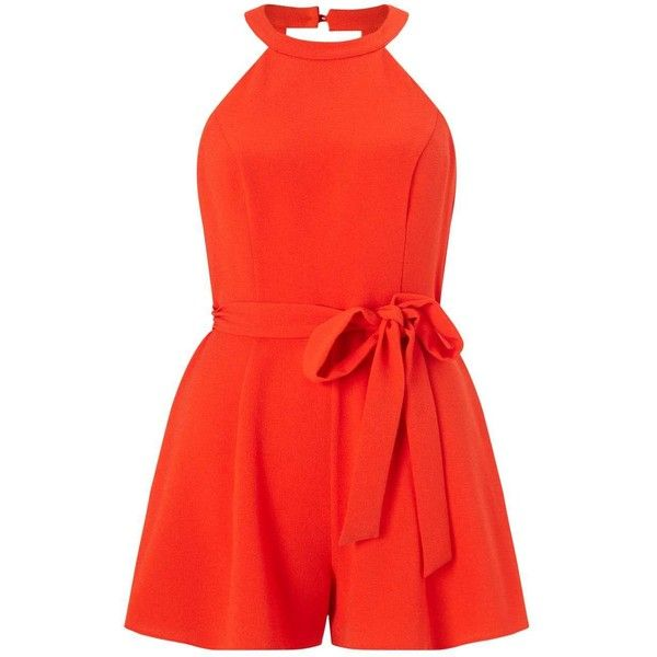 Miss Selfridge Petites 90's Neck Playsuit ($61) ❤ liked on Polyvore featuring jumpsuits, rompers, orange, petite, short rompers, red romper, orange romper, red rompers and sleeveless rompers