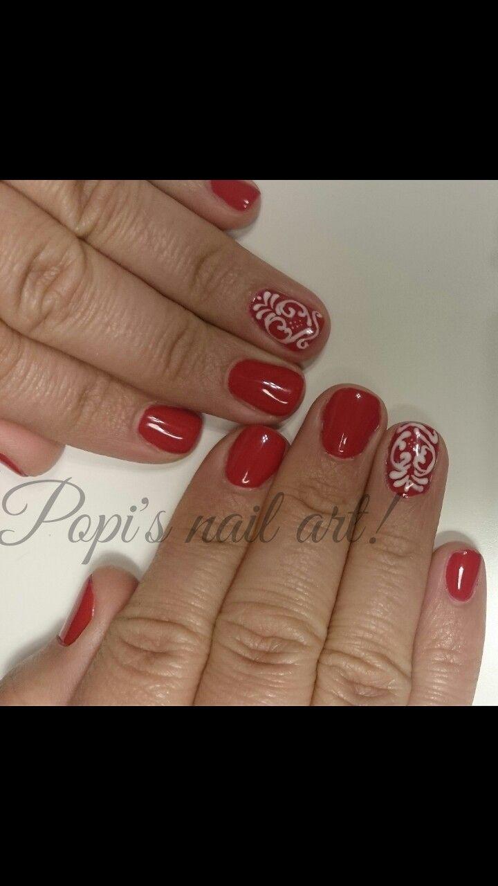 Κοντά νύχια, ημιμόνιμο, κόκκινο, σχέδιο στο χέρι!