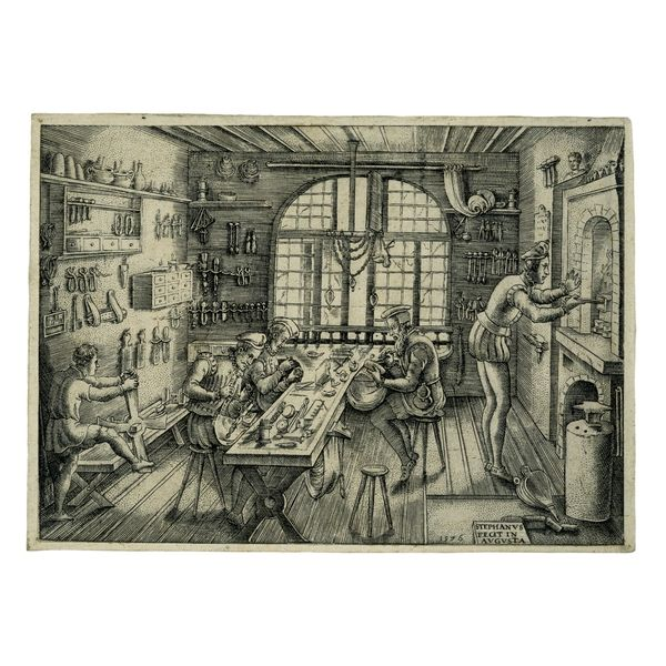 Goldsmith's Workshop;  Artist: Etienne Delaune, French, 1519-83;  Date: 1576; Currently in the collection of the British Museum.