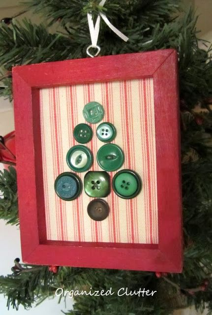 Repurposed Christmas Ornaments Made from Frames www.organizedclutterqueen.blogspot.com