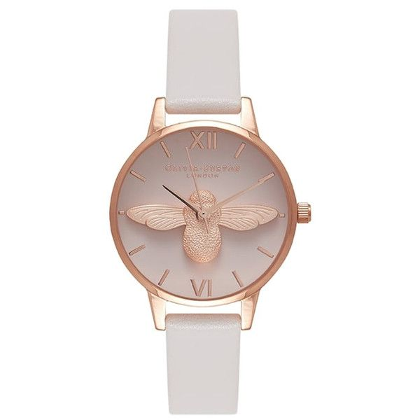 Olivia Burton Midi Moulded Bee Blush Dial Watch - Blush & Rose Gold ($160) ❤ liked on Polyvore featuring jewelry, watches, nude jewelry, rose gold watches, leather-strap watches, olivia burton and honey bee jewelry